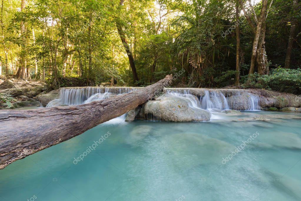 Фотообои Deep tropical forest waterfall