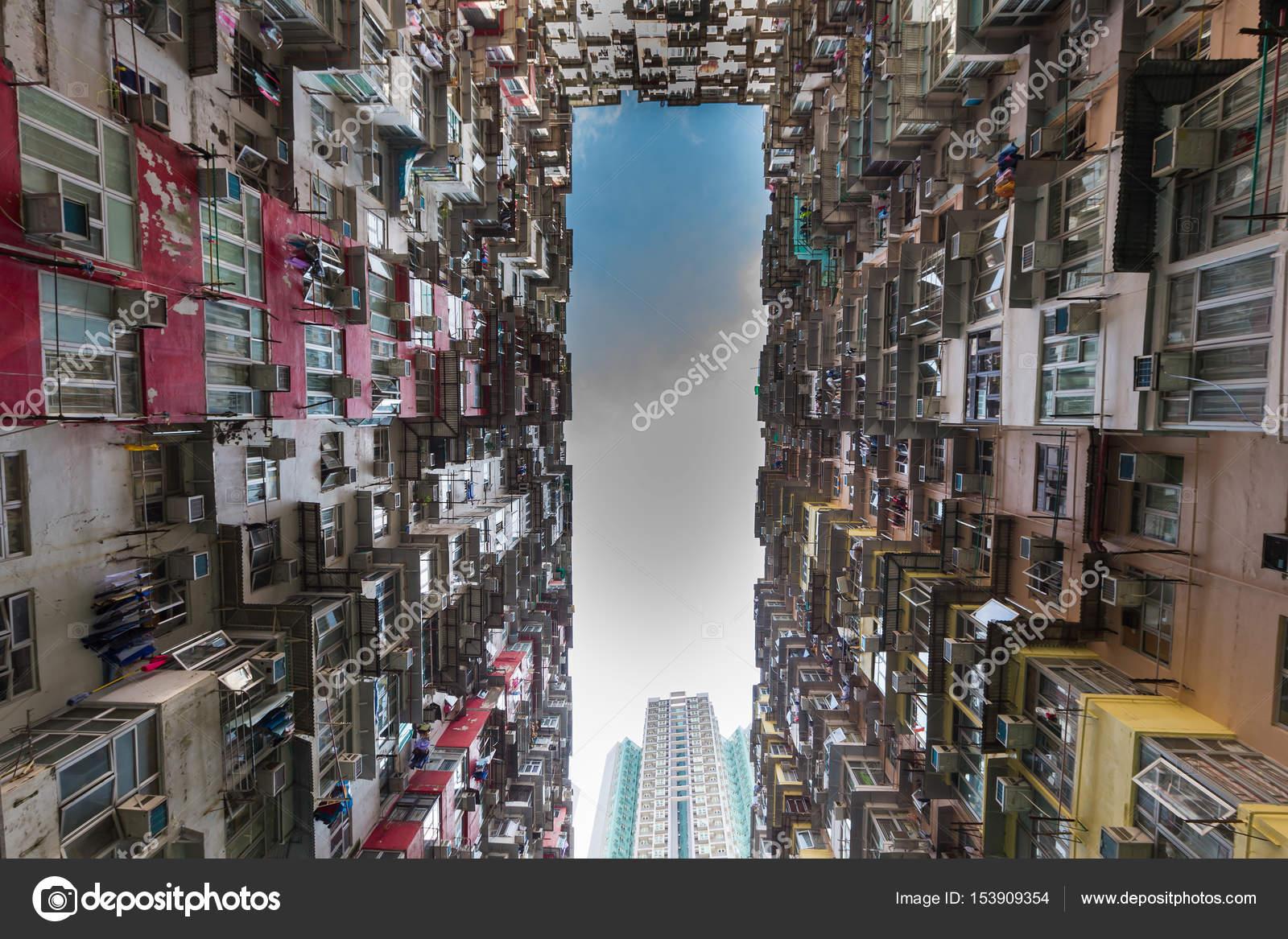 Hong Kong Wohnung Untersicht mit blauem Himmelshintergrund ...