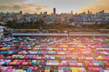 City night market aerial view