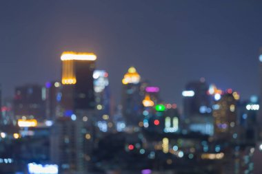 Night blurred bokeh central business downtown