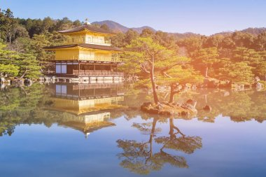 Golden temple name Kinkakuji Jo with reflection with clear blue sky background, Japan historic landmark