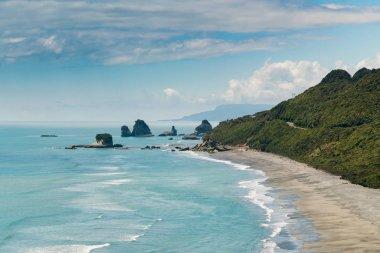 Beautiful New Zealand west coast island beach, natural landscape background