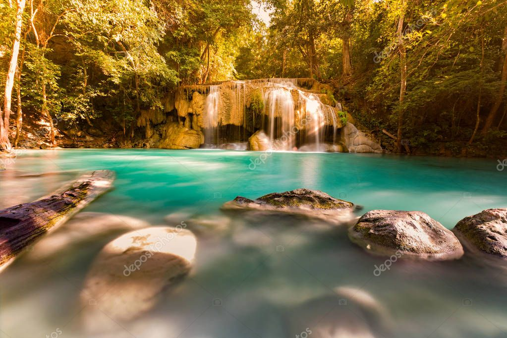 Фотообои Beautiful stream tropical waterfall in national park of Thailand