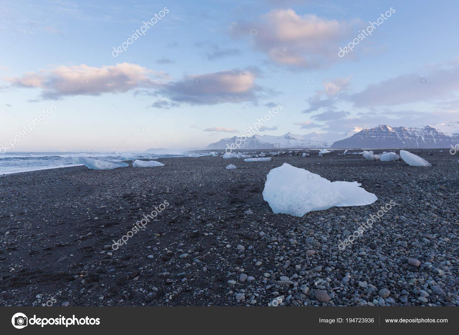 Diamond Beach Jokulsalon Glacier Iceland Winter Season Natural