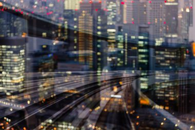 City night light motion train track blurred, abstract background
