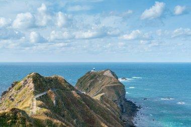 Shakotan at cape Kamui over seacoast skyline, natural landscape Hokkaido Japan