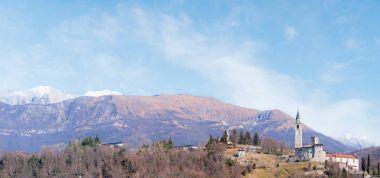 Mountain landscape with castle.