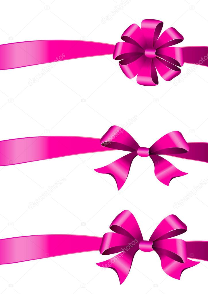 pink bows set. isolated on a white