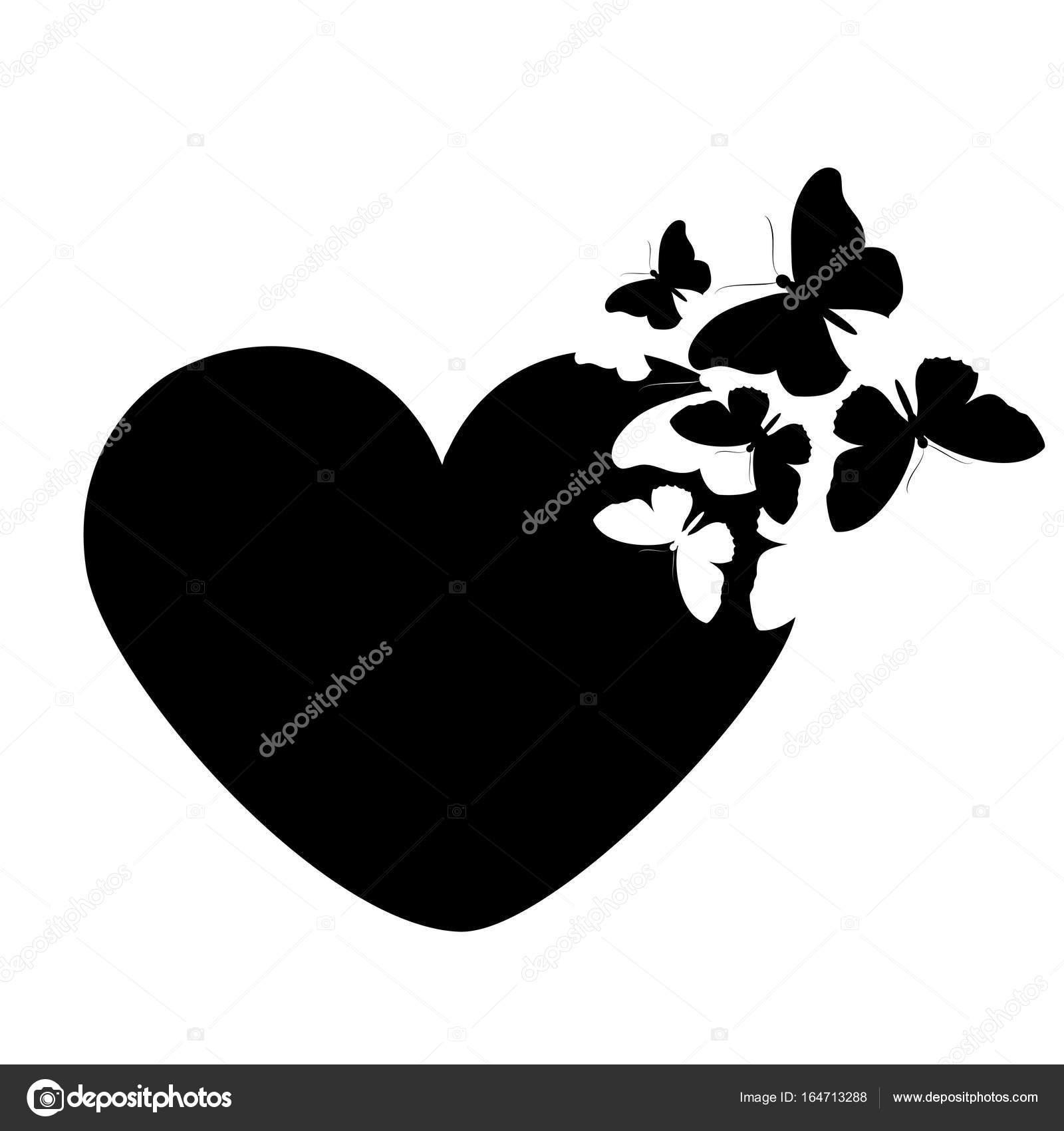 Imágenes Corazon Negro Mariposa De Corazón Negro Aislada Sobre