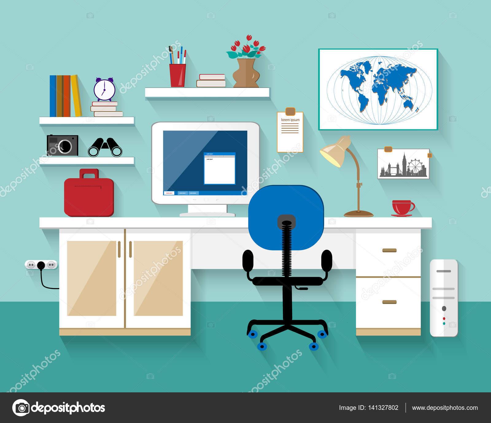Flat Modern Design Vector Illustration Of Workplace In Room U2014 Stock Vector