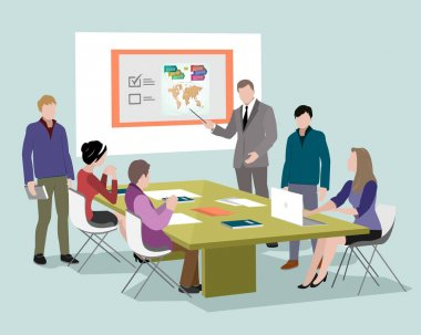 People talking and working at the computers in office stock vector
