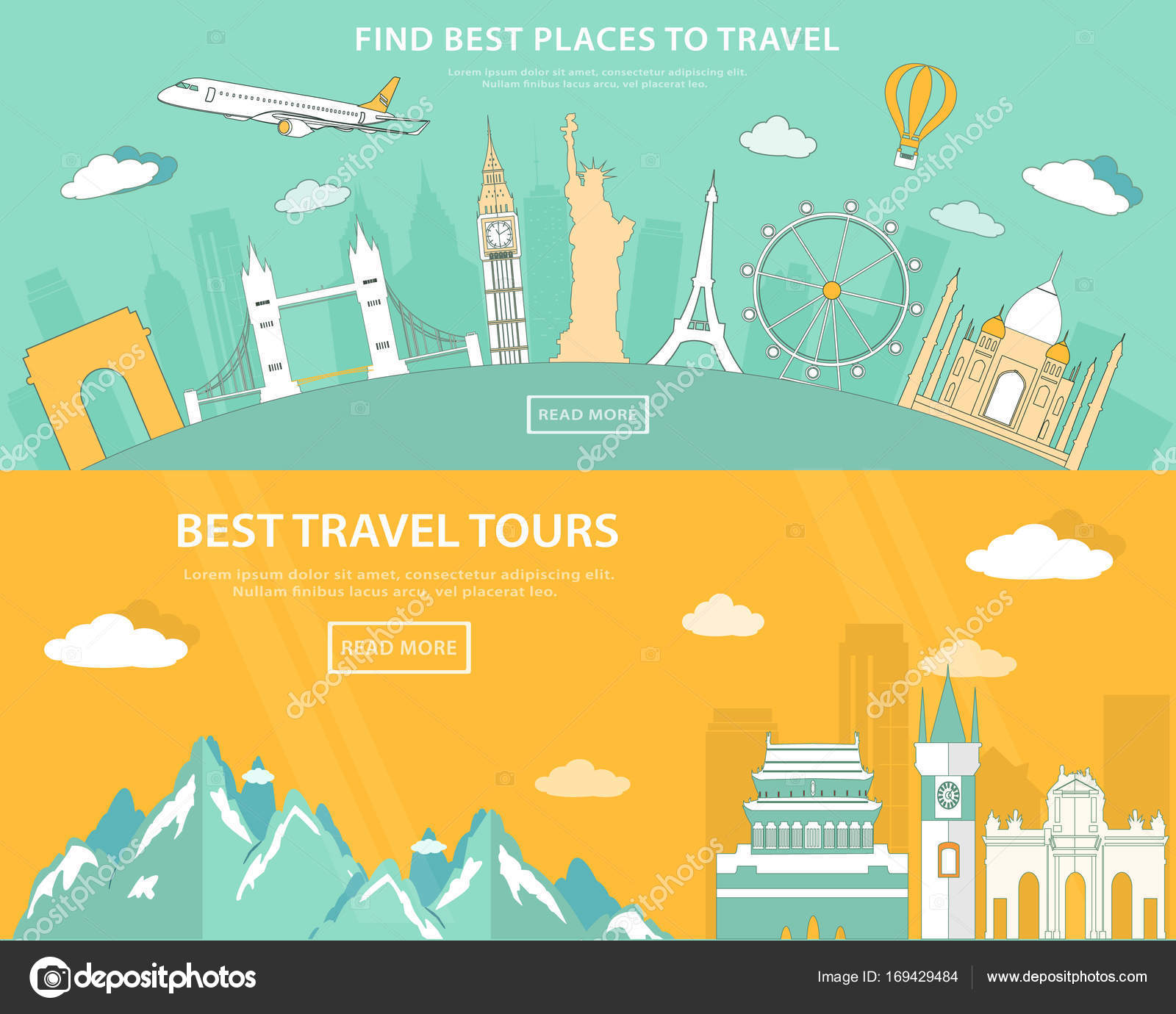 Flat Design Illustration Concepts For Travelling And Tourism Web Banner With Set Of World Landmarks And Places To Travel Stock Vector C Marisa 169429484