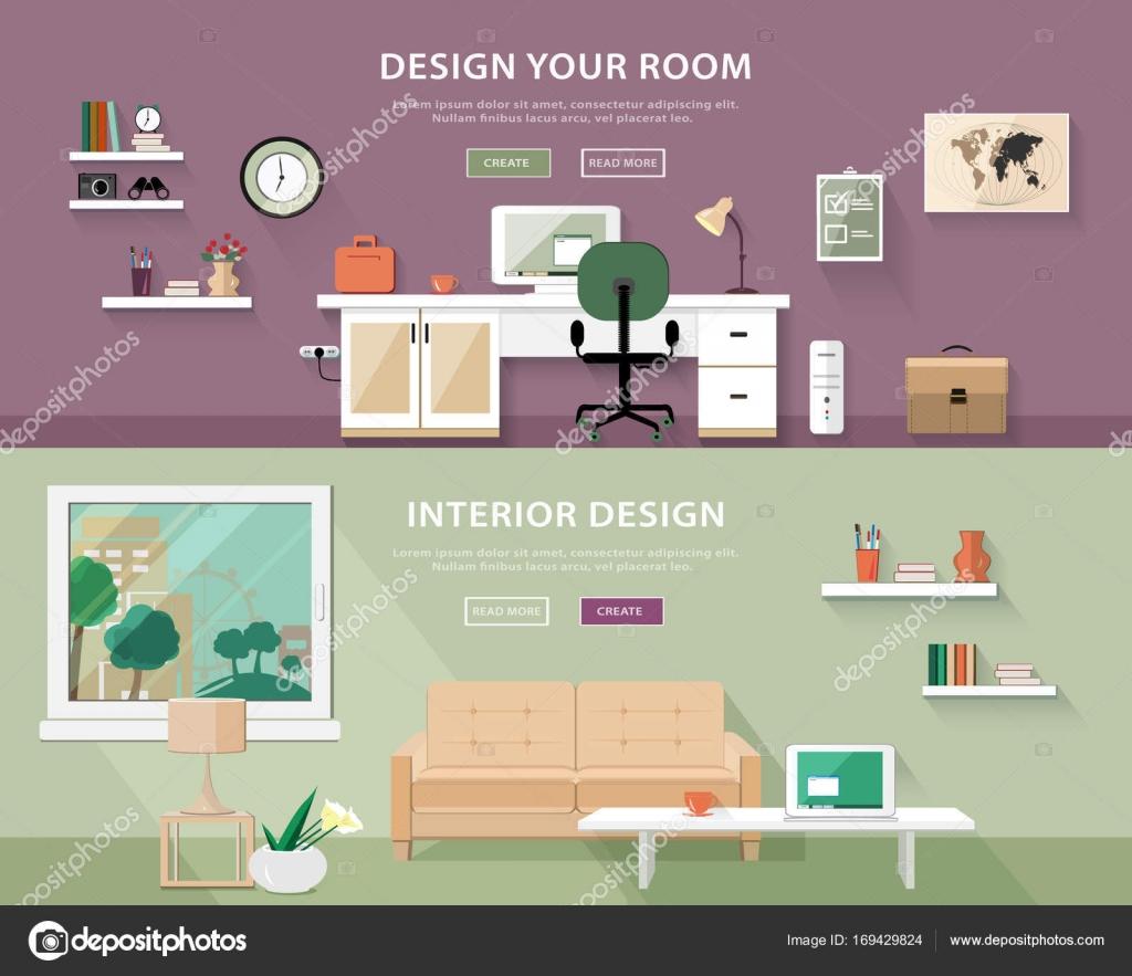 Flache Style Konzept Setzen Innenarchitektur Zimmertypen.  Web Banner Vektor Illustration U2014 Vektor Von Marisa_