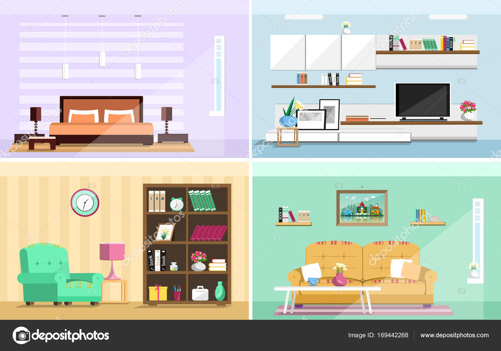 Design Slaapkamer Meubilair : Kleurrijke vector interieur design huis kamers met meubilair