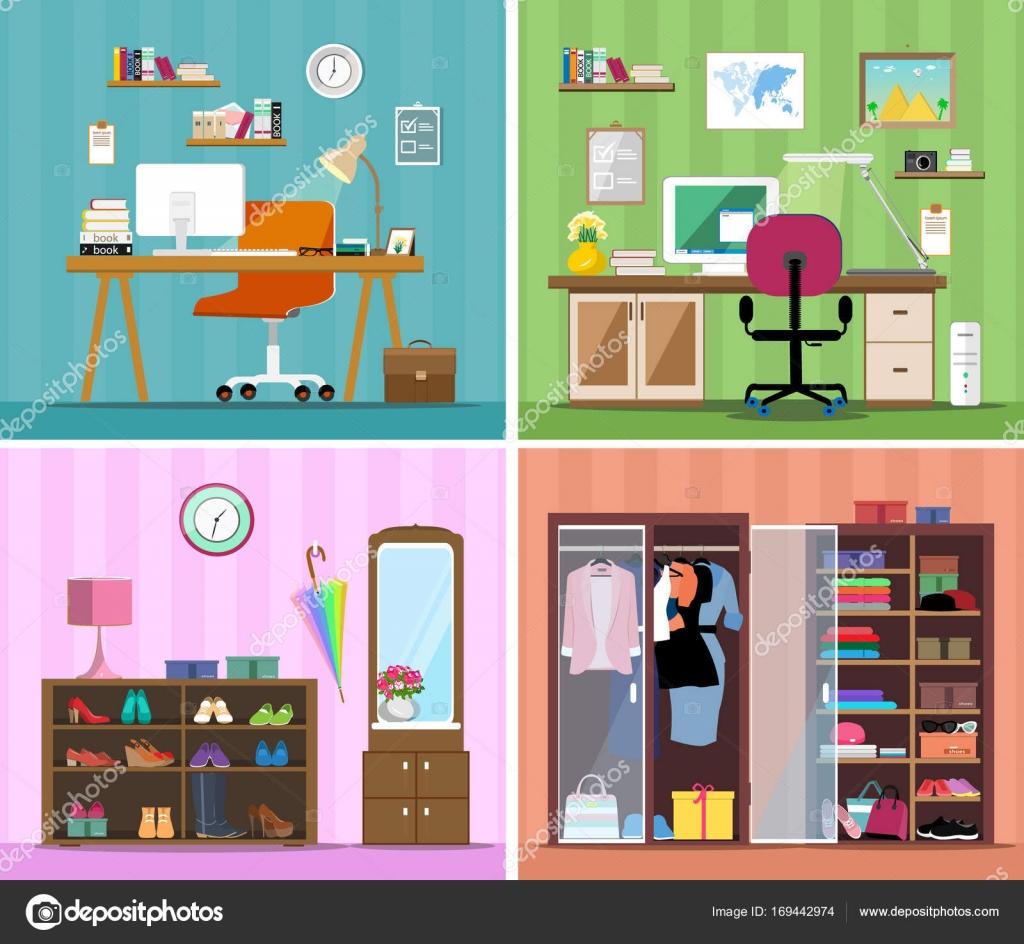 Conjunto De Vector Colorido Dise O De Interiores Casa Habitaciones  # Muebles Para Ropa