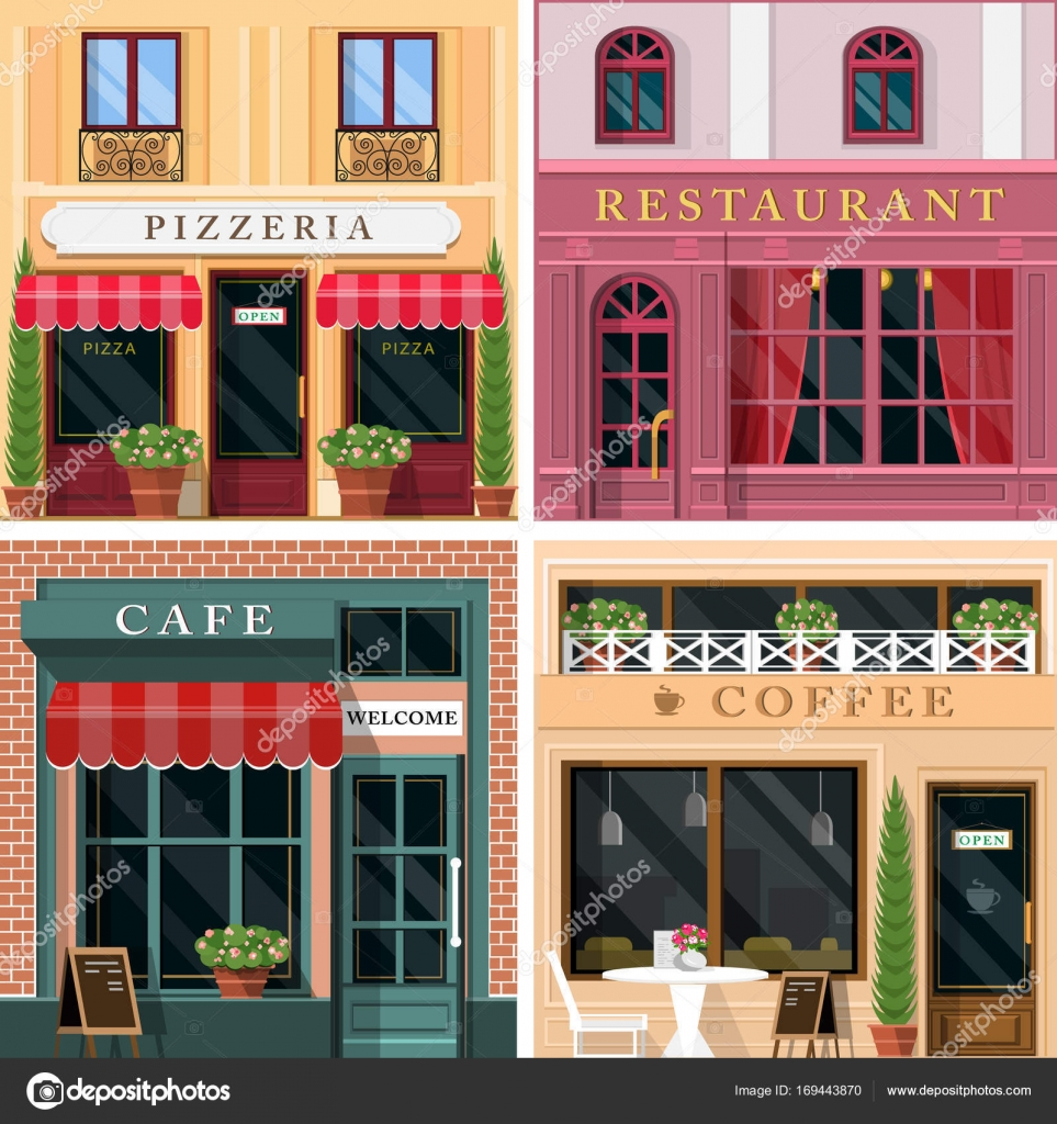 Set Of Vector Detailed Flat Design Restaurants And Cafes Facade Icons. Cool  Graphic Exterior Design