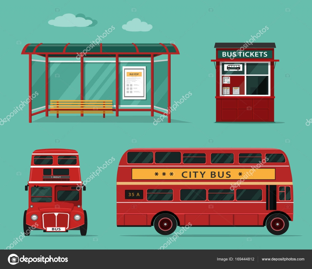 side view office set. Set Of City Bus With Front And Side View, Stop, Street Ticket Office. Isolated Vector Illustration \u2014 By Marisa_ View Office H