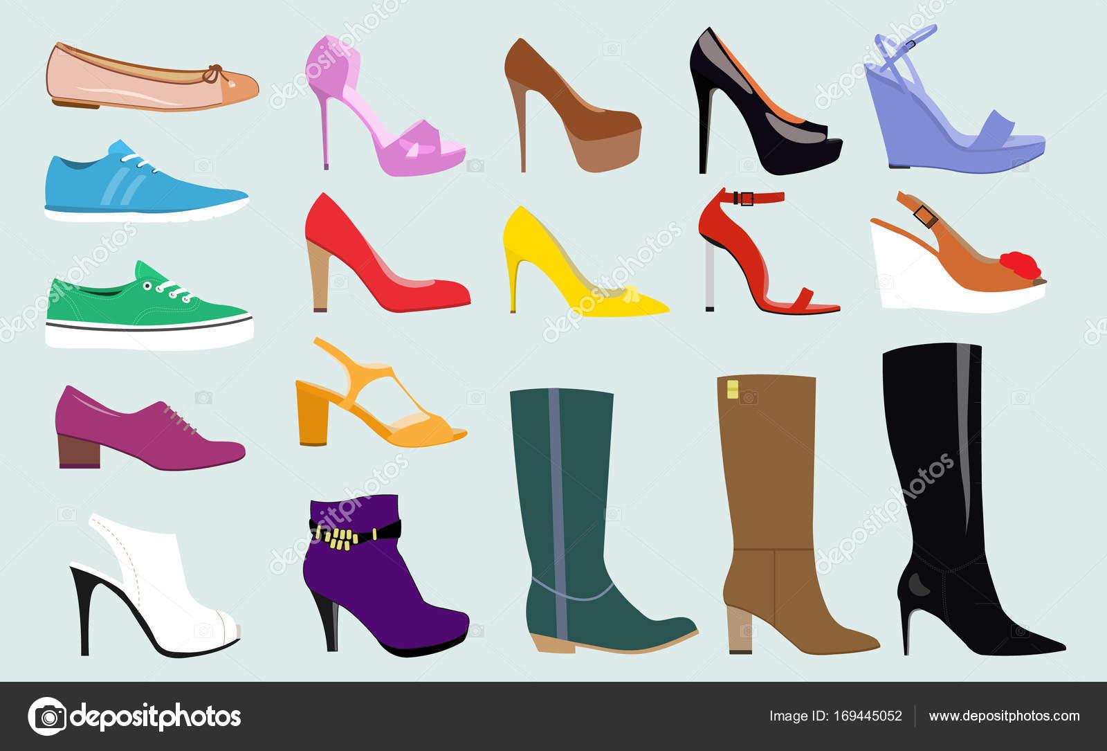 Con diferentes tipos de zapatos de mujer de tendencia