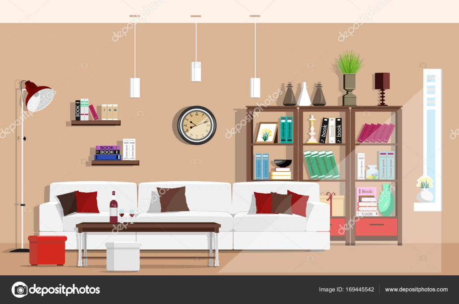 Fresco salón gráfico diseño de interiores con muebles: sofá, sillas ...