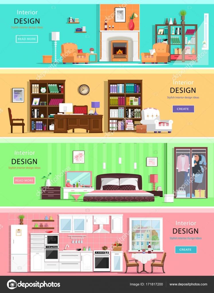 Reihe von bunten Vektor Innenarchitektur Haus Zimmer mit Möbel ...