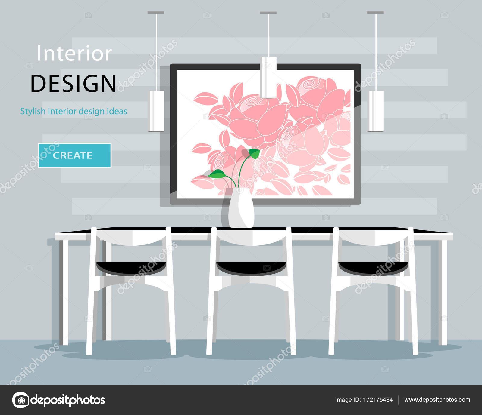 Diseño de interiores moderno comedor con mesa, sillas, florero ...