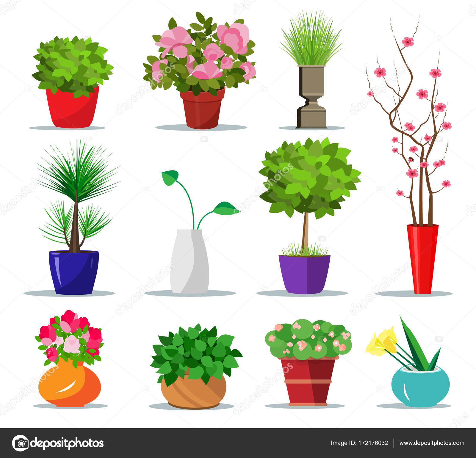 Set Of Colorful Flowerpots For House. Flat Style Indoor Pots For Plants And  Flowers. Vector Illustration Isolated. Collection Of Modern Flower Pots And  ...