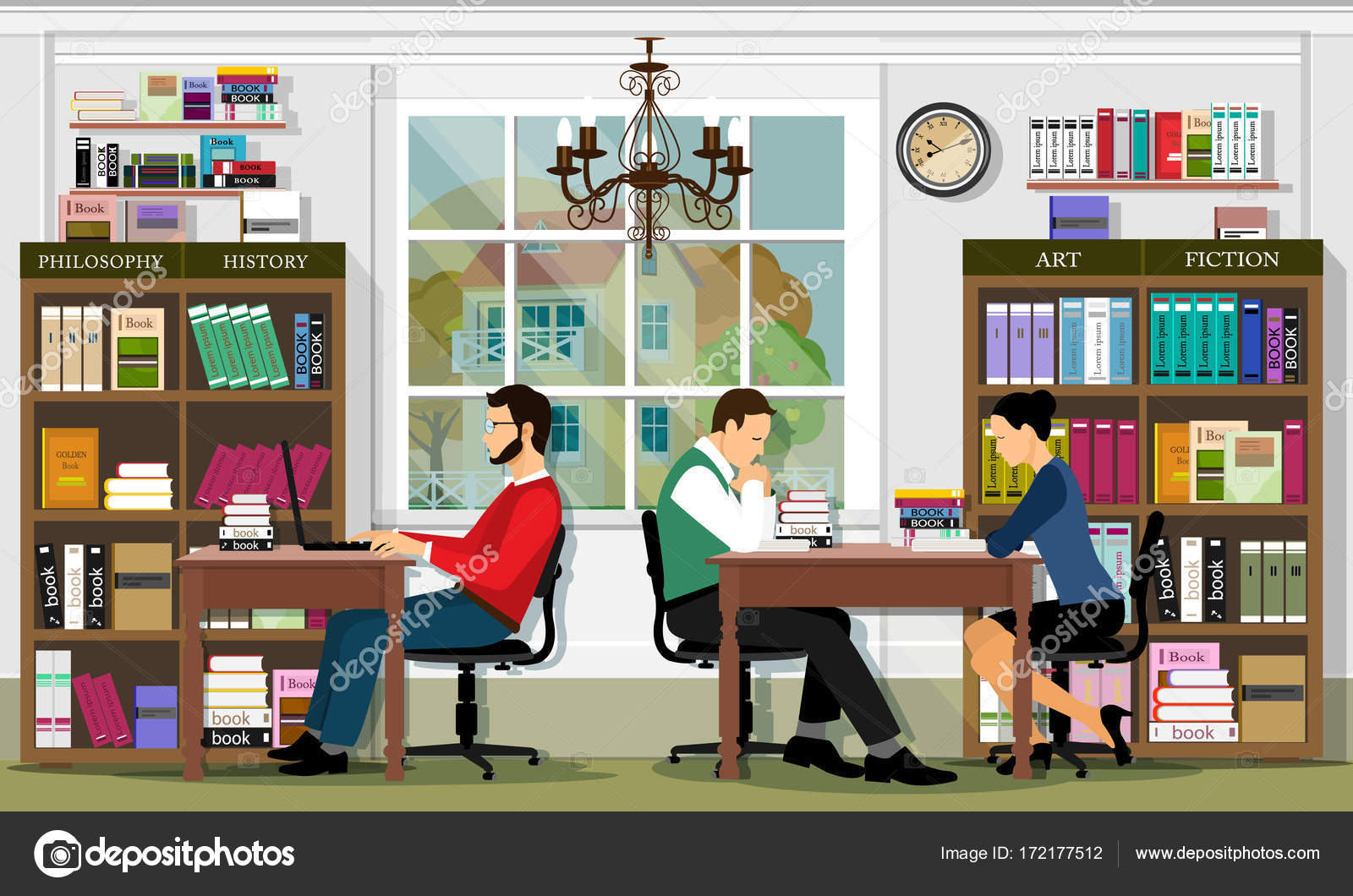 Stylish Graphic Library Interior With Furniture And People  # Muebles Fiction