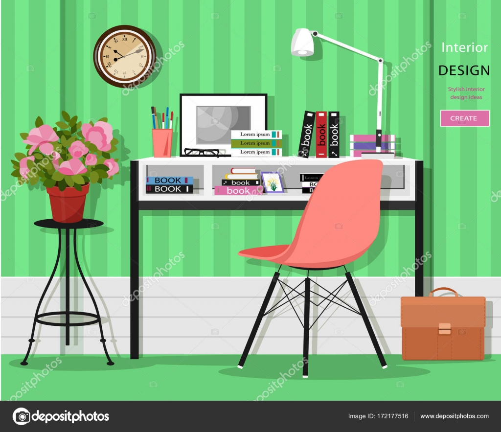 Cute Grahic Home Office Room Interior With Desk Chair Lamp