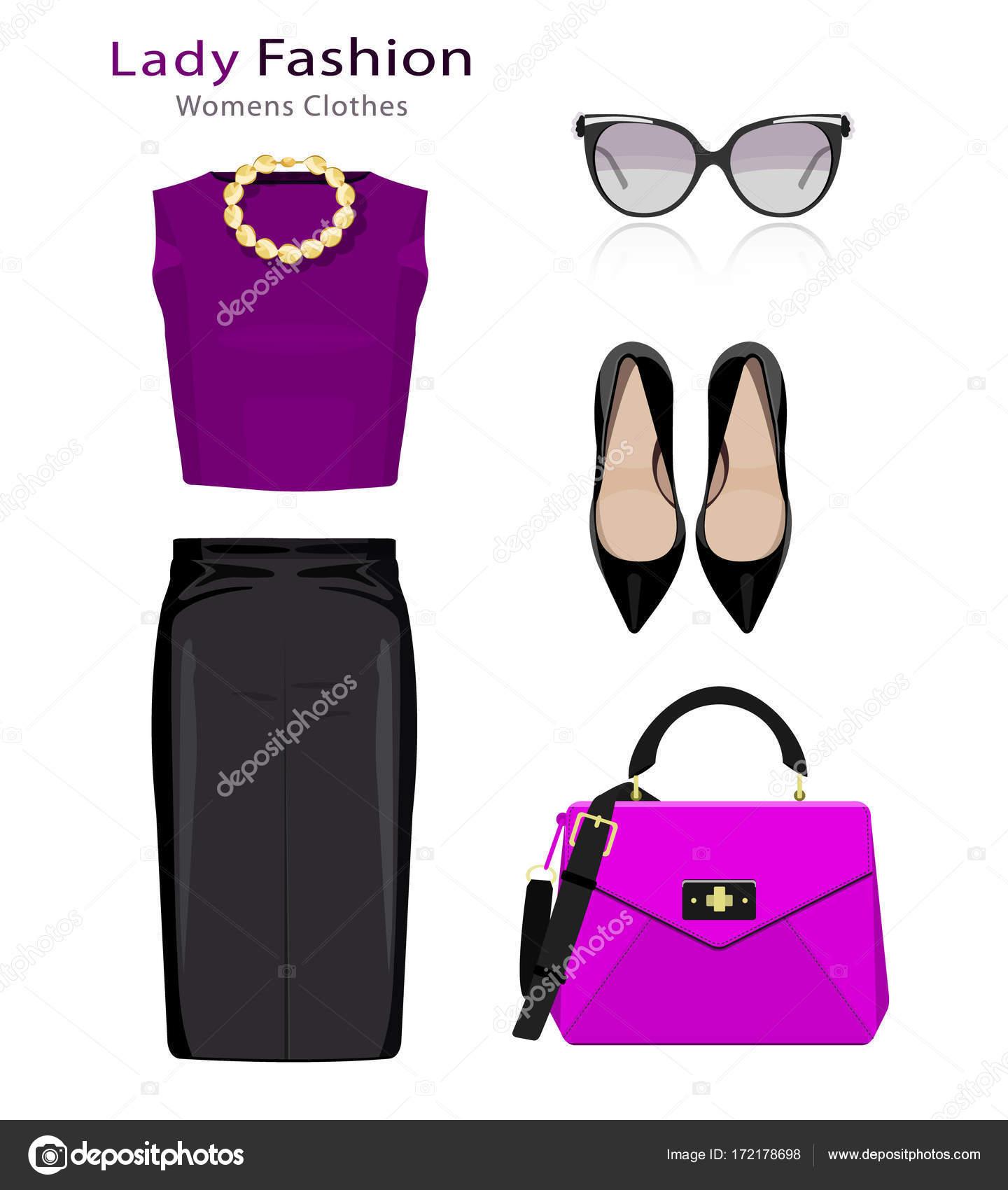 878e683b723a Плоский дизайн концепции вид моды. Женской одежды комплект с аксессуарами.  Красочные модную одежду объекты — Вектор от Marisa