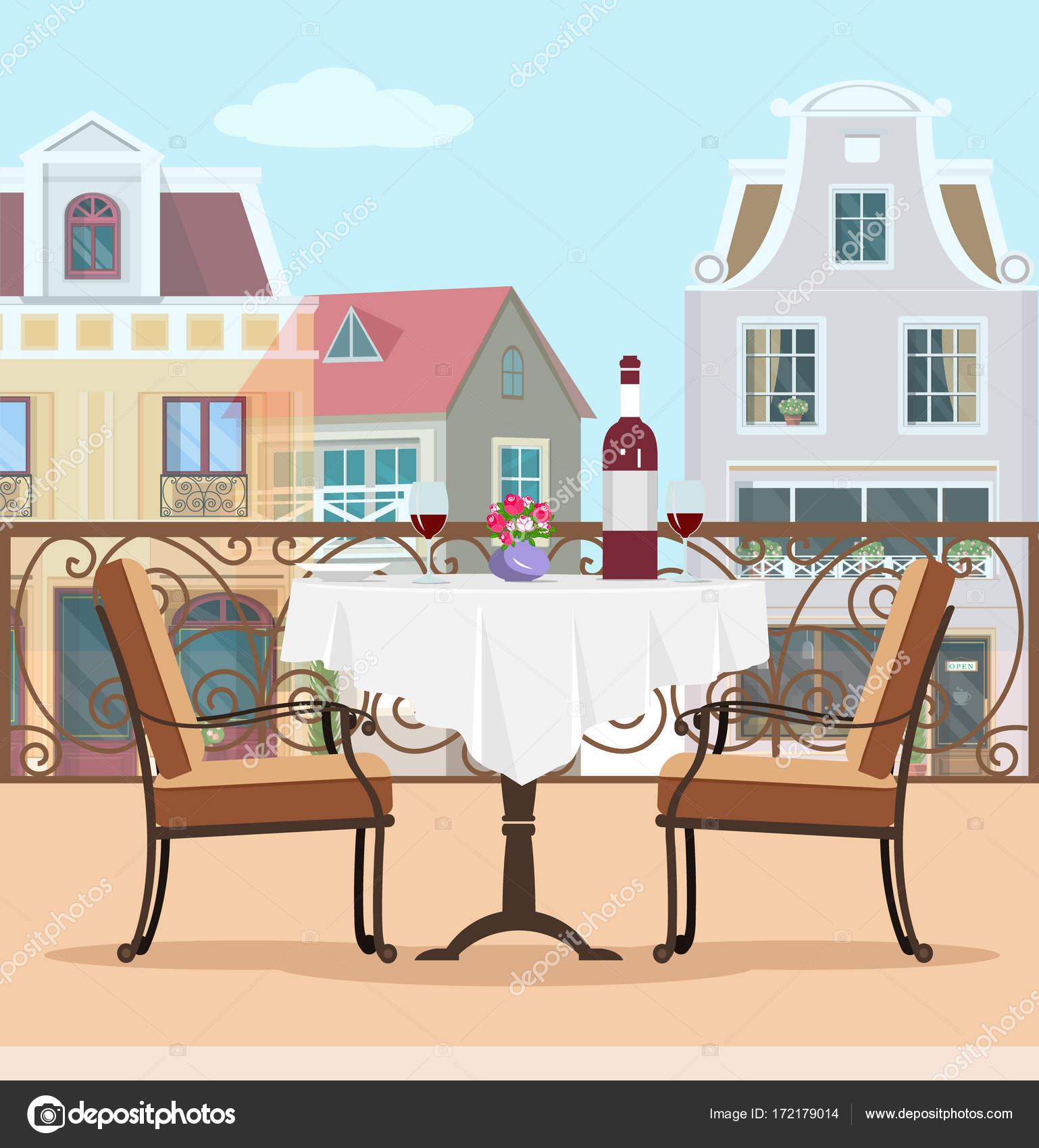 Tavoli E Sedie Stile Vintage.Balcone Di Vettore Di Stile Vintage Con Tavolo E Sedie Colorato