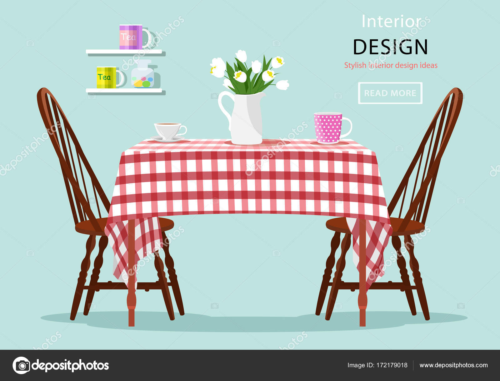 Modern Graphic Vector Concept Of Dining Table With Chairs Cups And Flowers Kitchen
