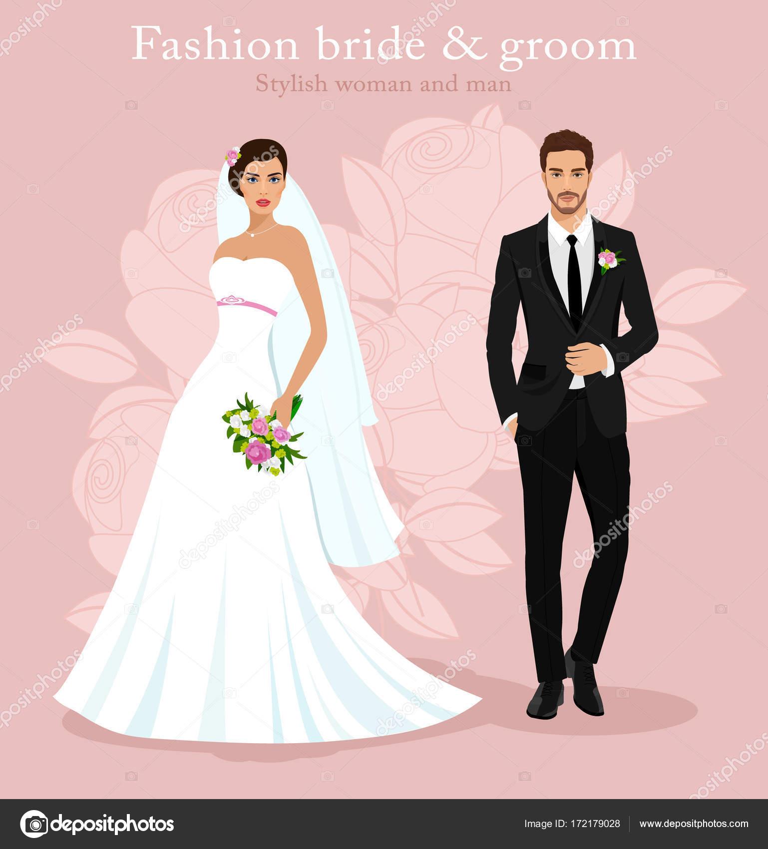 Lindo joven casados: hermosa novia con ramo y guapo novio de moda ...