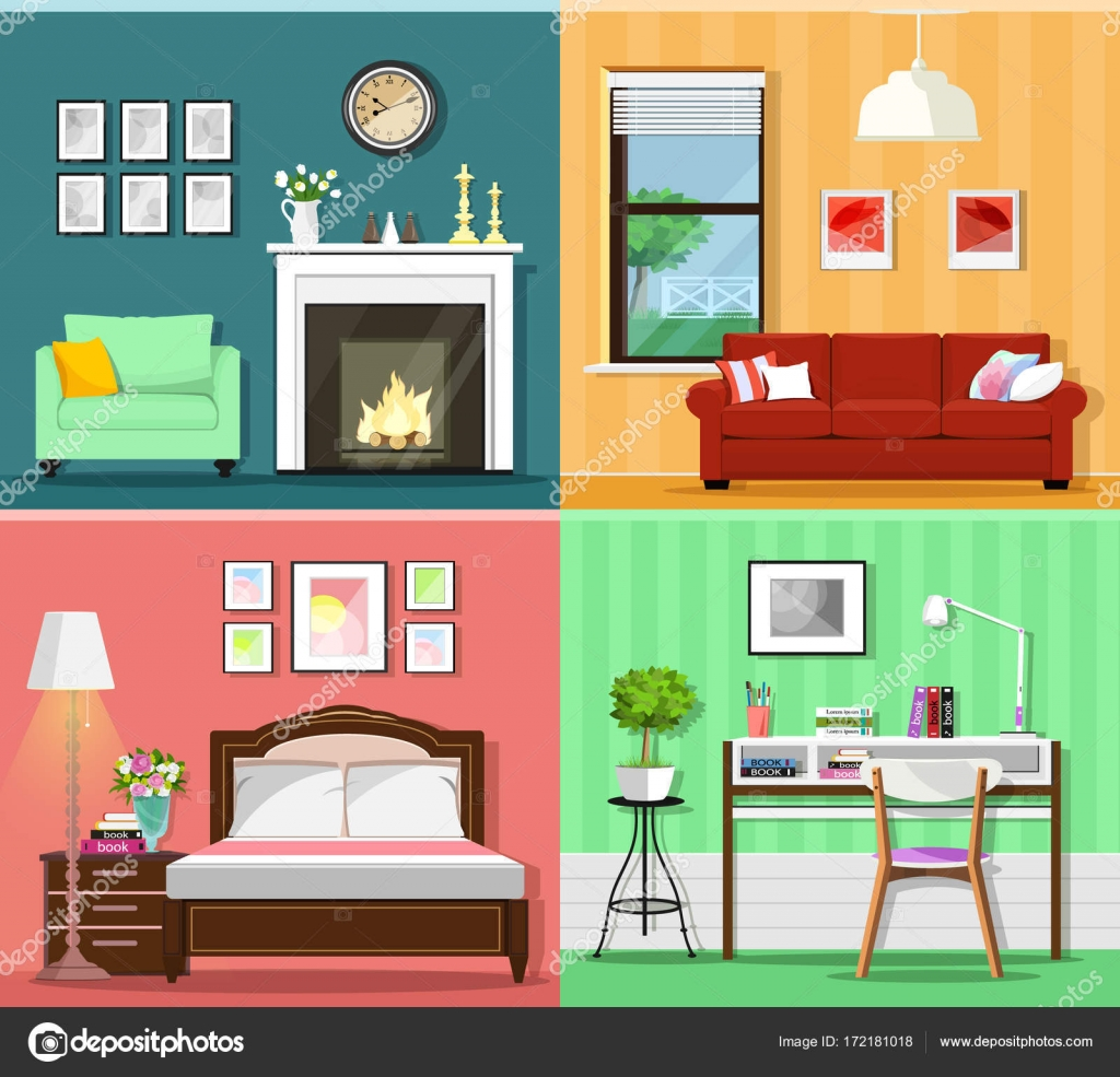Set of colorful graphic room interiors with furniture icons ... Icons Design House Beds on bed lifters, bed texture, bed desktop, bed seat cushion, bed on beach, bed bolsters, bed people, bed queen, bed on stilts, bed cooler, bed bunker, bed railing, bed for disabled at home,