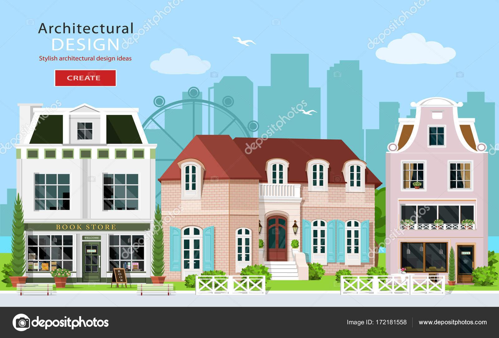 Moderne architecturale vormgeving schattig europese gebouwen