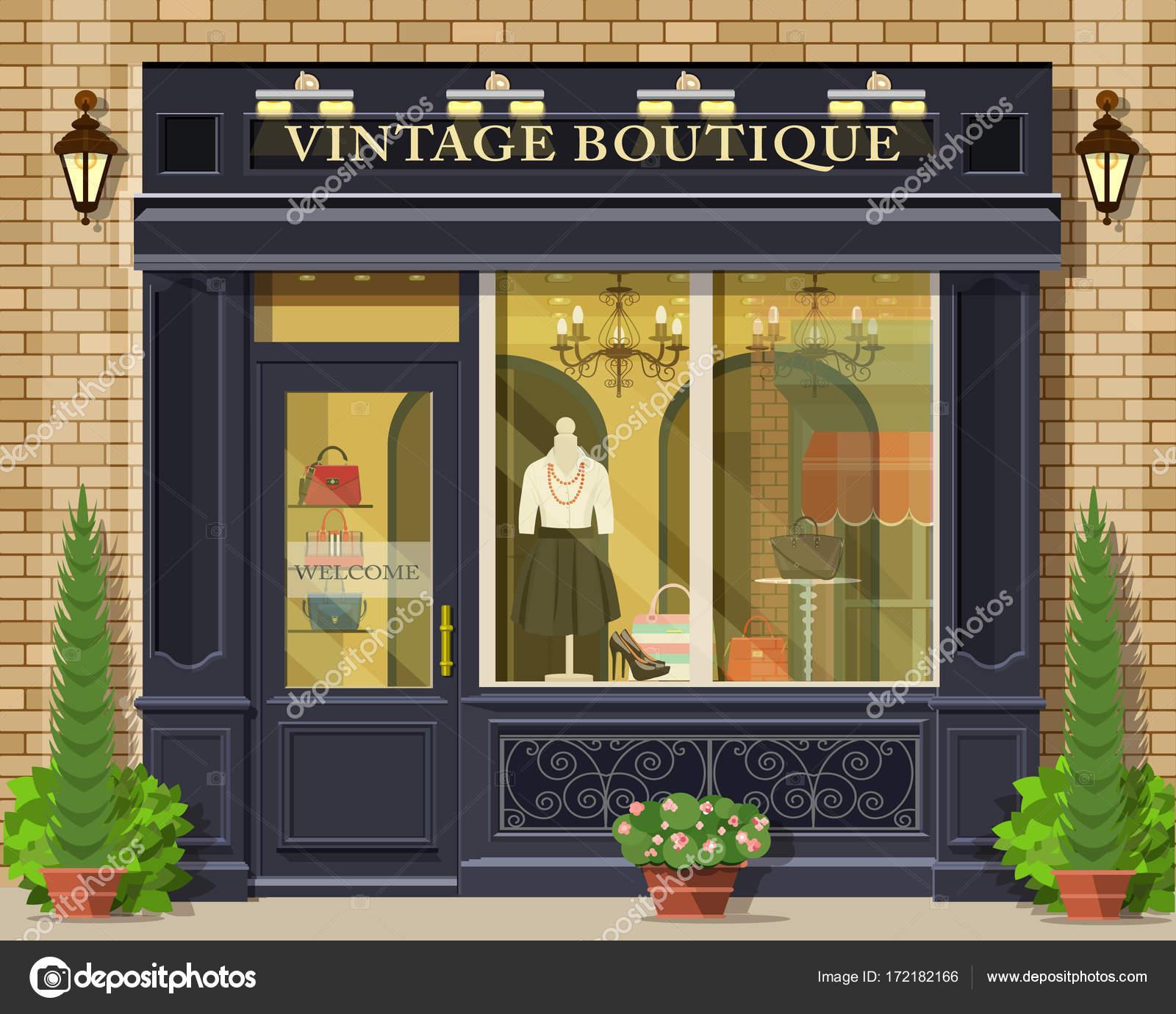 façade de boutique vintage vector design plat détaillée. extérieur