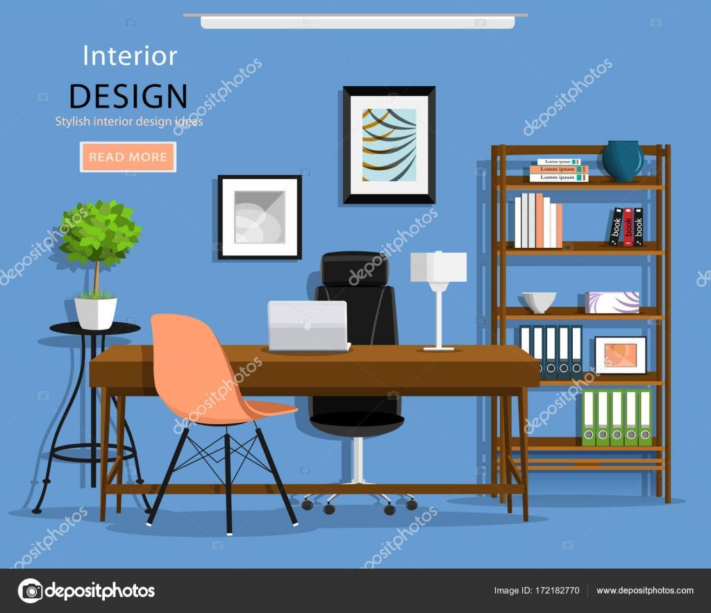 Moderne Grafik Büroeinrichtung Zimmer: Schreibtisch, Sessel ...