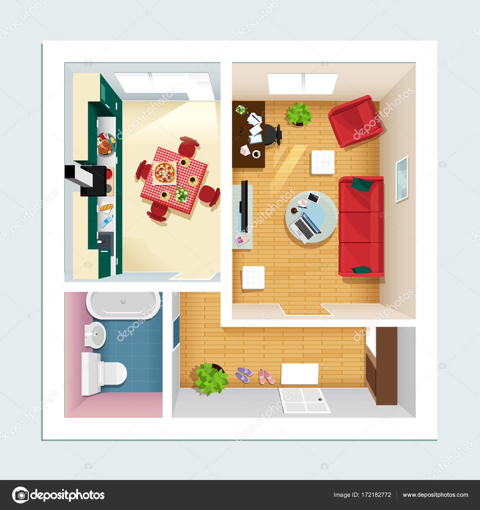 Moderne gedetailleerde plattegrond appartement met keuken, woonkamer ...