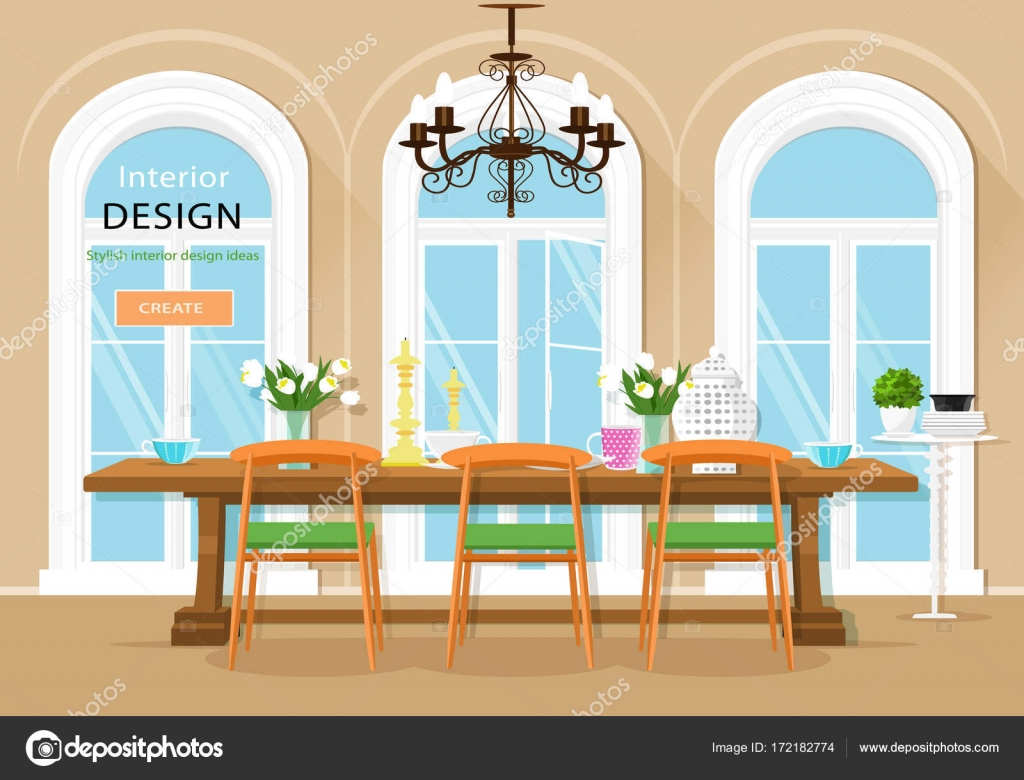 Vintage Graphic Dining Room Interior With Table Chairs And Large Windows Flat Style Vector Illustration By Marisa