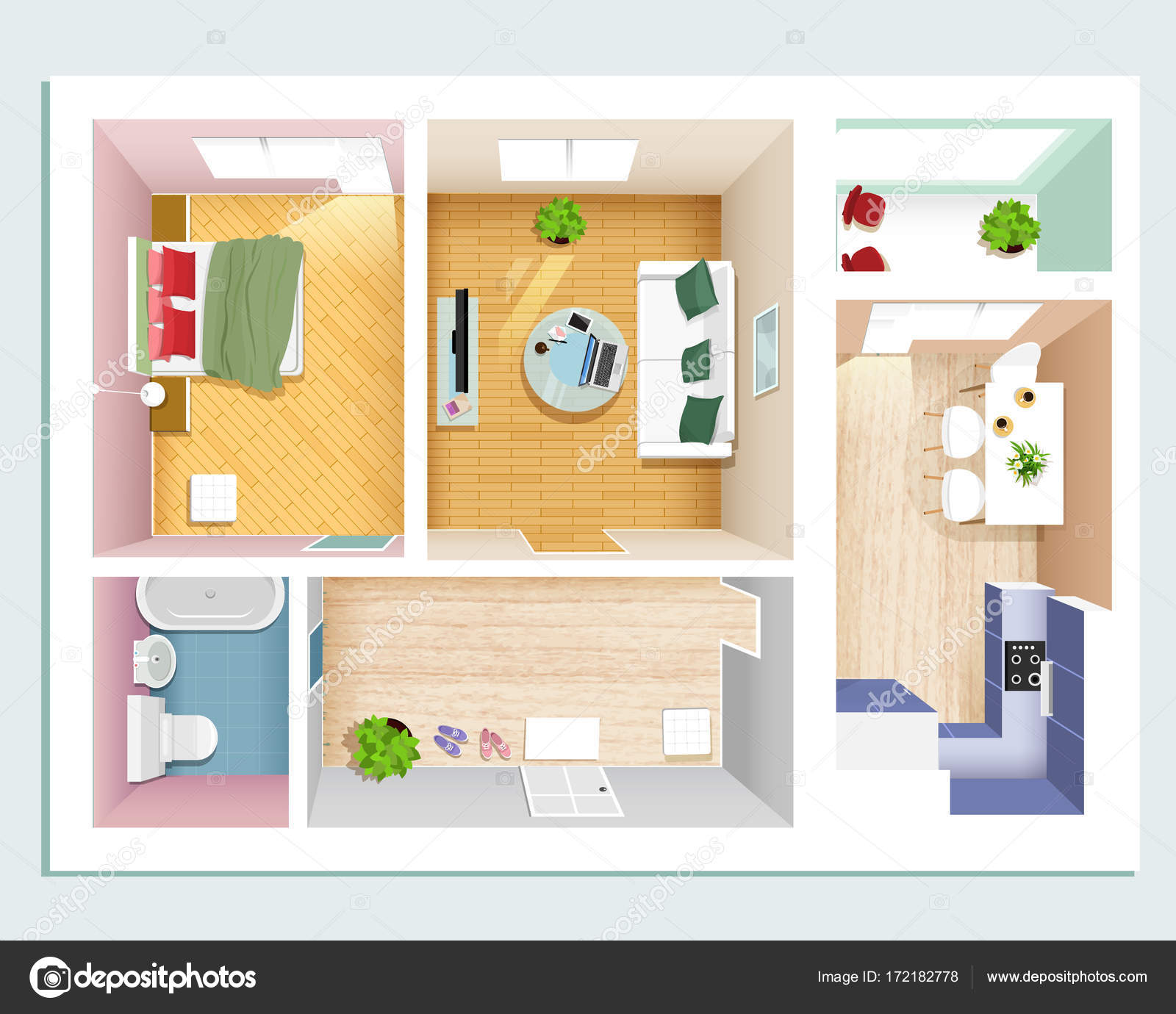 Moderne Grafik Wohnung Draufsicht: Schlafzimmer, Wohnzimmer, Küche, Halle  Und Bad. Stilvolle Flache Zimmereinrichtung Festgelegt.