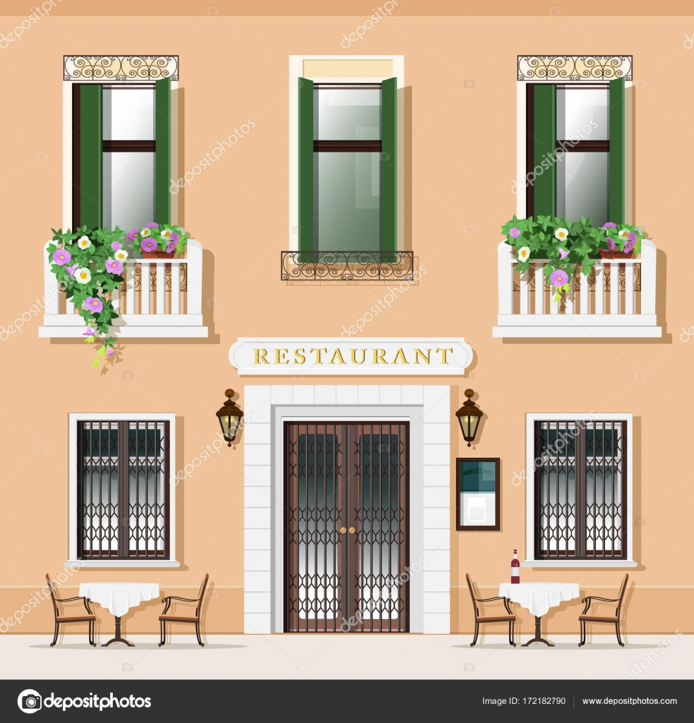 Vintage Style Restaurant Facade Old Fashioned Cafe With Tables And Chairs European Street Exterior Vector Illustration