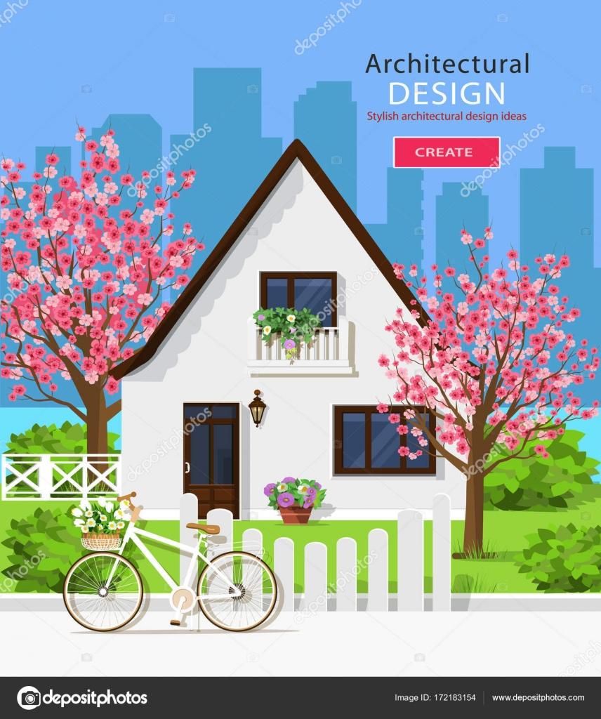 Niedlichen weißen Privathaus mit Sakura Bäume. Stilvolle Grafik Satz ...