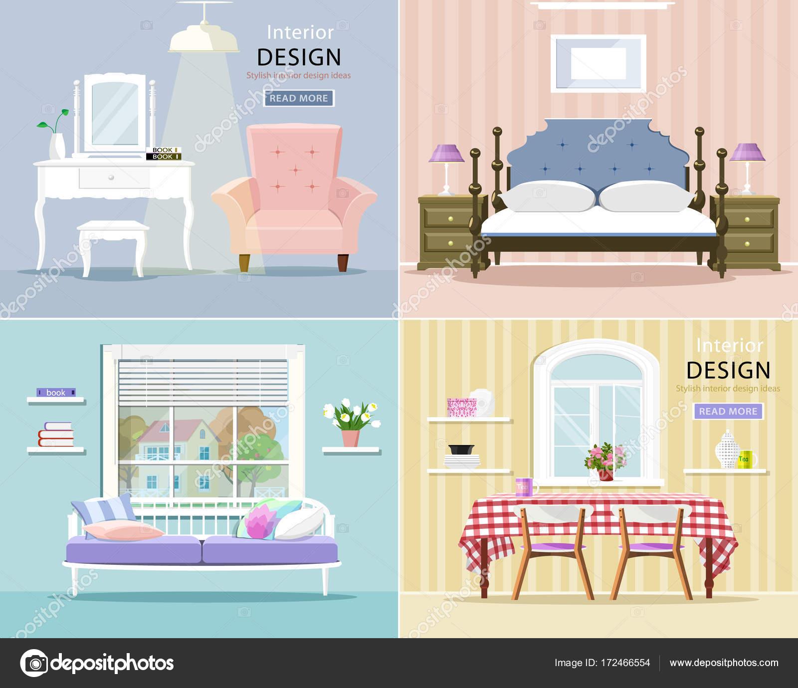 Moderne Zimmereinrichtung Festgelegt. Stilvolle Grafische Wohnzimmer,  Schlafzimmer Und Esszimmer. Flachen Stil Vektor