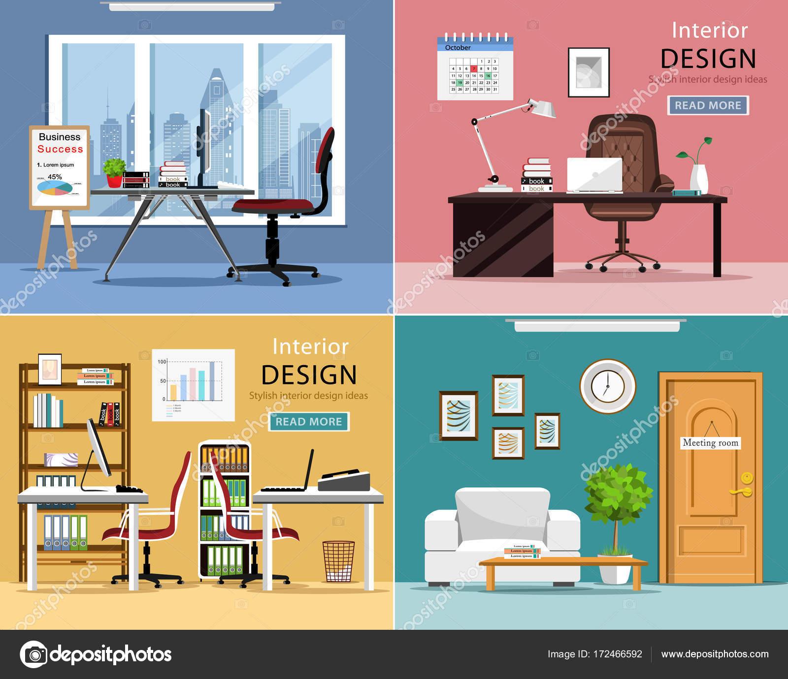 Conjunto de oficina habitaciones. Detallado gráfico interiores con ...