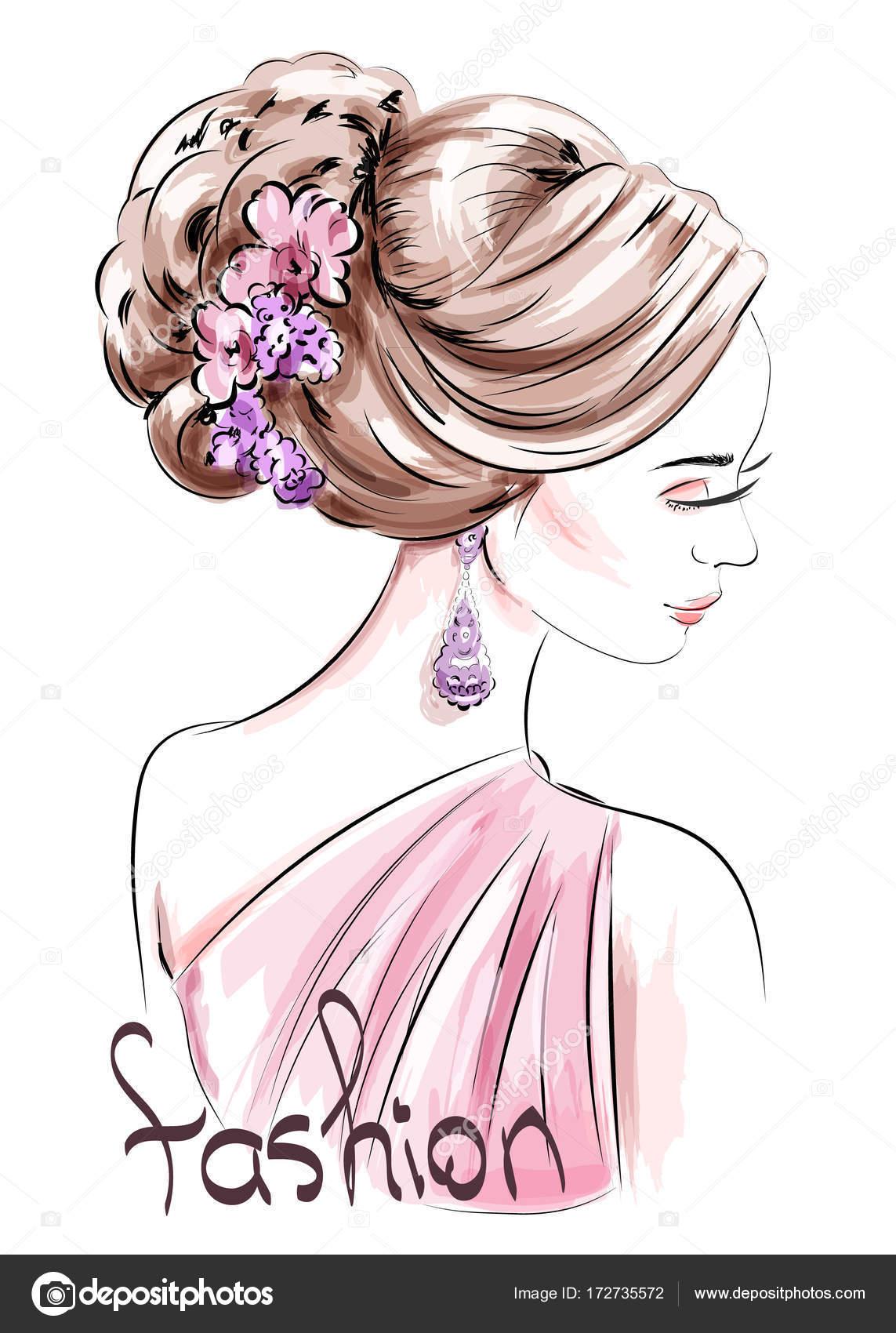 かわいい髪型と美しい手の描かれた女性スケッチファッション