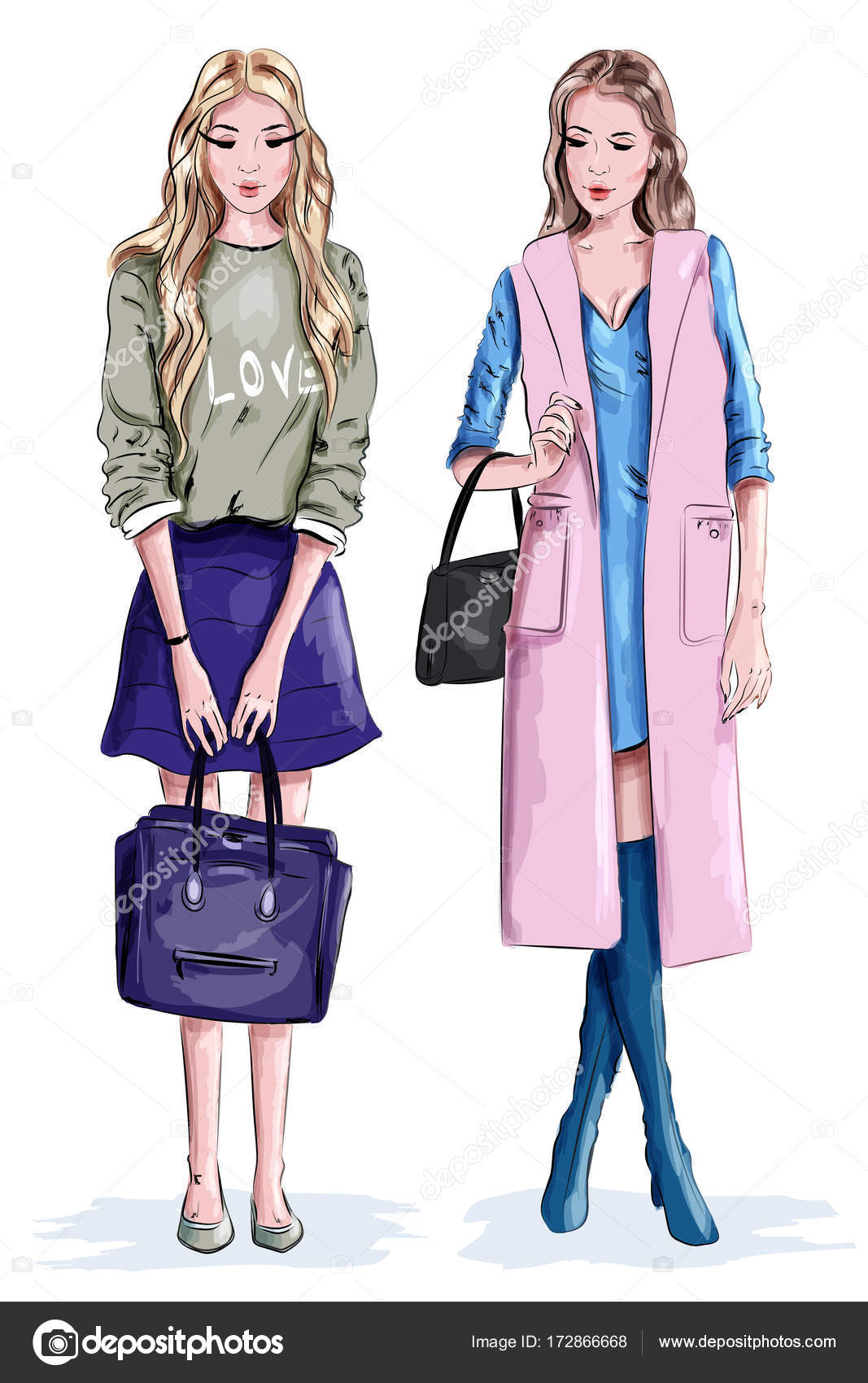 d6d6046488 Two beautiful stylish girls with bags. Cute women in fashion clothes. Vector  illustration.