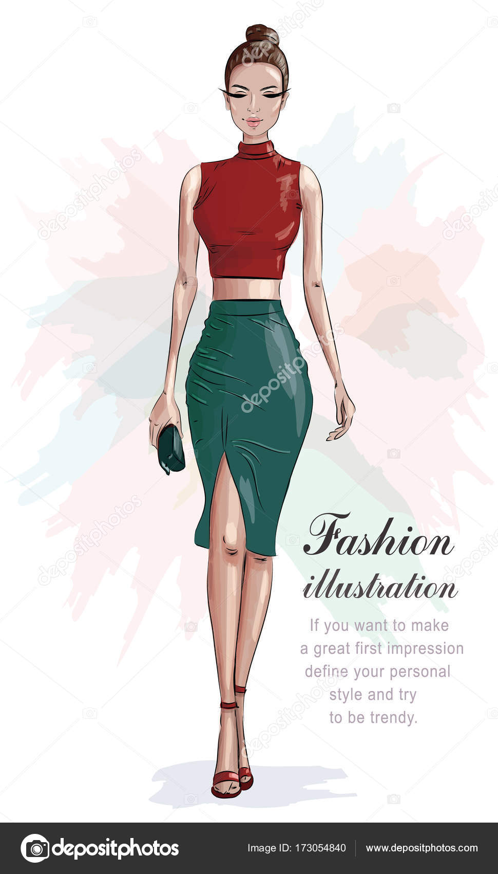 150357f4f19 Stylish woman in fashion clothes: red crop top and green skirt. Beautiful  fashion woman with hand bag. Sketch. Vector illustration.
