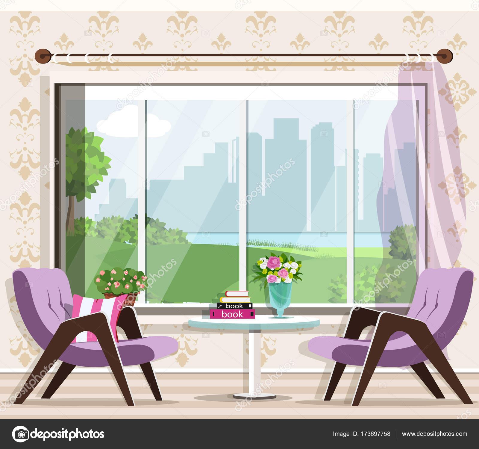 Lindo elegante salón conjunto interior: butacas, tabla, ventana ...