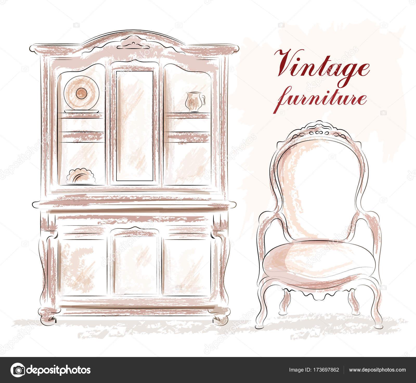 Vintage-Möbel-Set: alten Stil Schrank und Stuhl. Skizze. Vektor ...