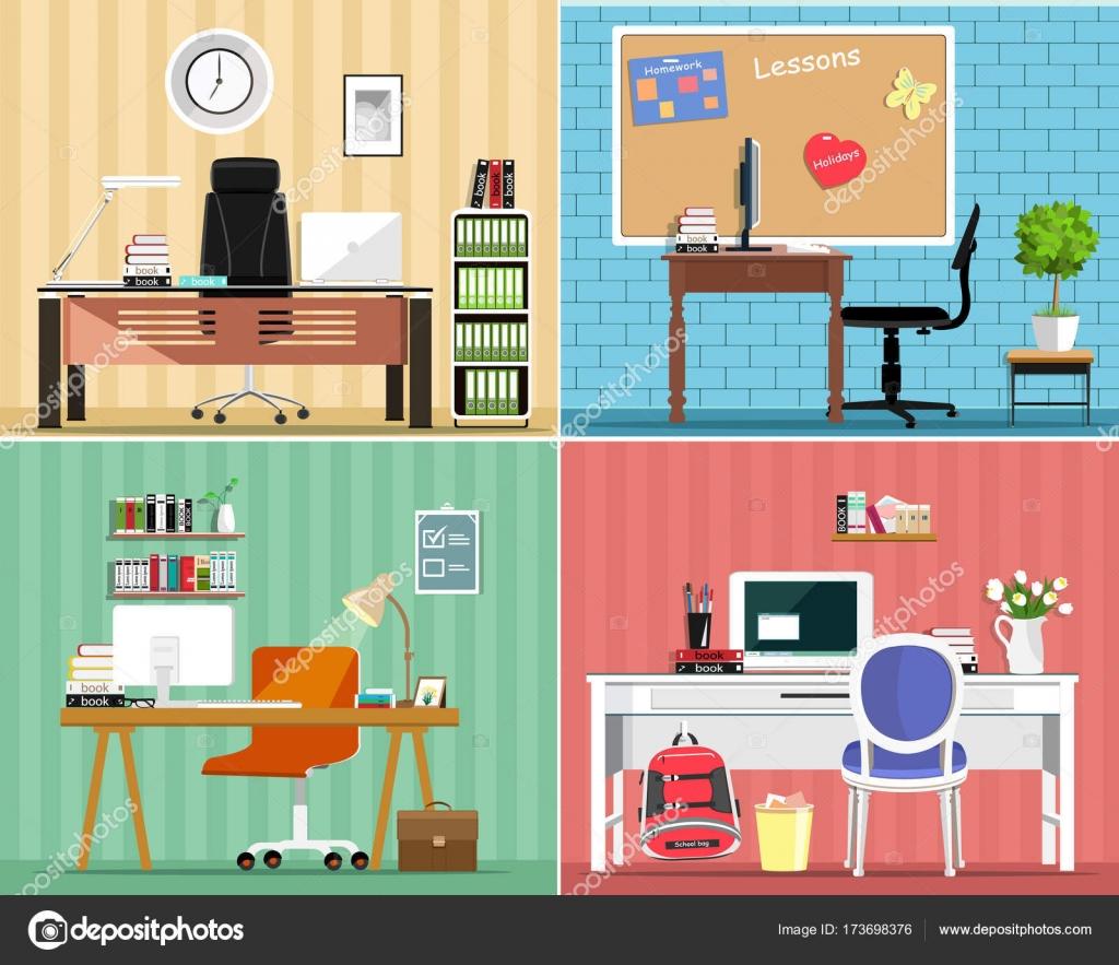 Coole Grafik Möbel-Set: Tische, Stühle, Computer, Notizen, einige ...