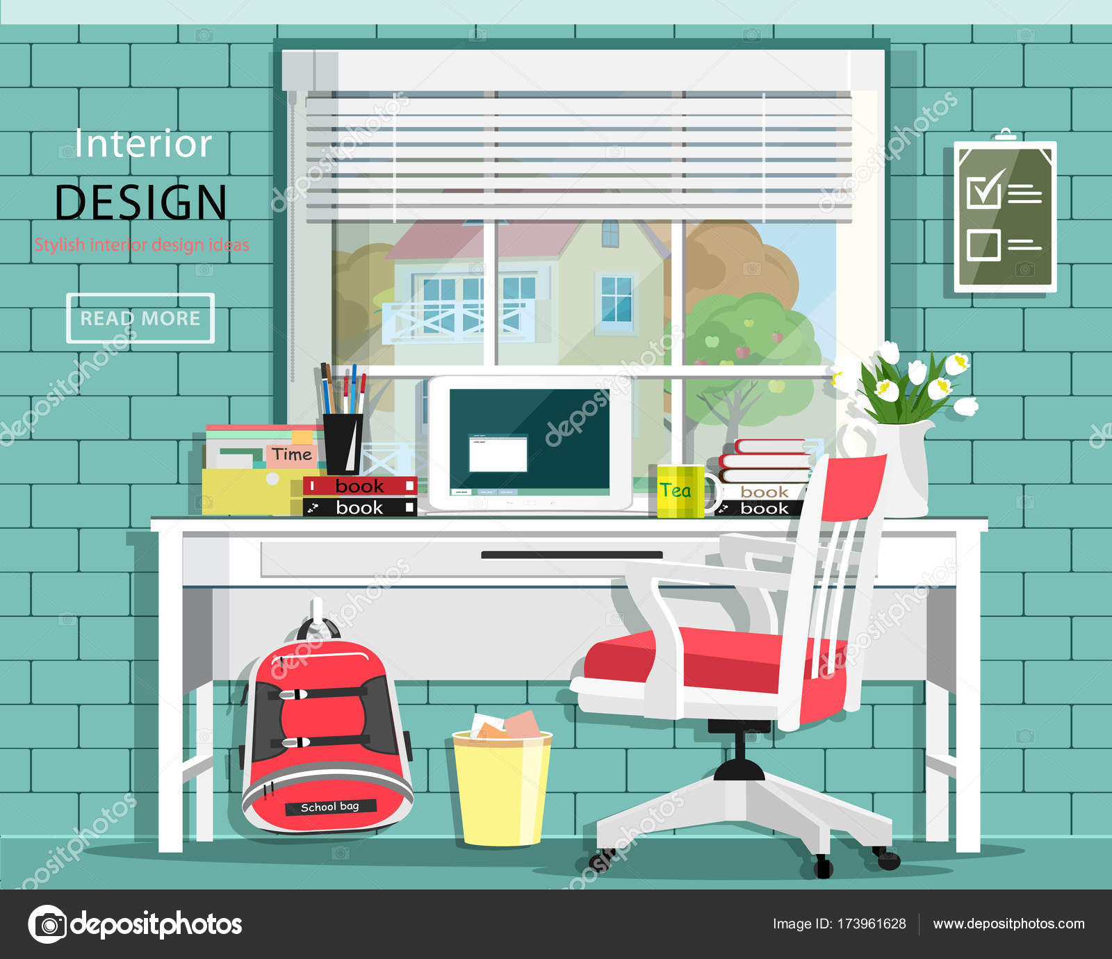 stylish home office chair desk graphic room set with desk chair window bag books note book stylish home office cute room vector illustration by marisa book